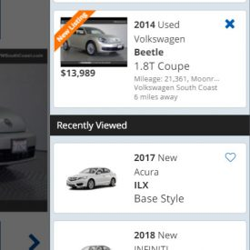 KBB - Saved Vehicles Widget - Mobile